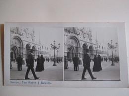 PHOTO STEREO  VENISE -  San Marco Et Piazzetta  - Belle Animation -  Photographie Anonyme -   TBE - Photos Stéréoscopiques