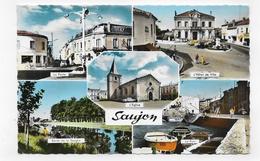 (RECTO / VERSO) SAUJON EN 1966 - N° 594 - MULTIVUES - TRACES DE PAPIER AU DOS - FORMAT CPA VOYAGEE - Saujon