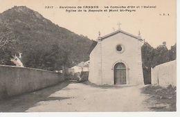 20 / 4 / 395  -  ENV.  DE CANNES - ( 06 ). LA CORNICHE D'OR ET L'ESTEREL- ÉGLISE  DE  LA  NAPOULE  & Dos. MT. ST. PEYRE - Cannes