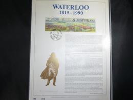 """BELG.1990 2376 : """" WATERLOO """" NL.Luxe Kunstblad Geslagen In Fijn Goud 23 Karaat , 500 Exemplaren - FDC"""