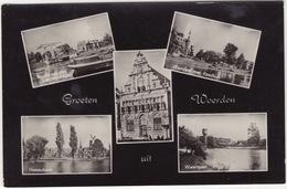Groeten Uit Woerden - Rozenbrug Met Landwijksingel, Westdam, Stadhuis, Nassaukade, Watertoren - (1957) - Woerden