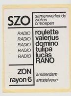 Sticker Radio/TV: Radio Roulette-valerius-domino-tulipa-lucas-rano-zon-rayon6 Amsterdam Amstelveen (NL) - Aufkleber