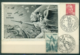 CM-Carte Maximum Card #France-1945 (Yv.N° 716+314) Gandon ,Roujet De Lisle # Obl.congrès Maximaphile+Libération Dijon - 1940-49