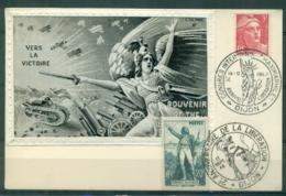 CM-Carte Maximum Card #France-1945 (Yv.N° 716+314) Gandon ,Roujet De Lisle # Obl.congrès Maximaphile+Libération Dijon - Maximumkarten