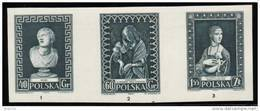 POLAND 1956 MUSEUM CONSERVATION STRIP OF BLACK PROOFS NHM (NO GUM) ART Statues Madonna Da Vinci Paintings Lady Ermine - Probe- Und Nachdrucke