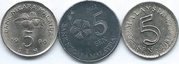 Malaysia - 5 Sen - 1988 (KM2) 1990 (KM50) 2012 (KM201) - Malesia