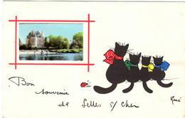 CPA : Bon Souvenir De Selles Sur Cher , Chats Noirs Illustrateur René - Other Illustrators