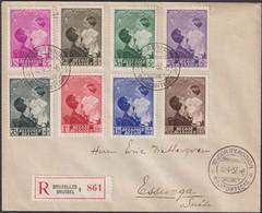 Belgique 1937 COB 447 à 454, La Série Oblitérée 1er Jour, Sur Recommandé Pour Essunga, Suède. Astrid De Suède & Baudouin - ....-1951