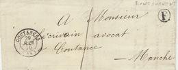1850- Petite Env. De COUTANCES ( Manche ) En Port Du ,cad T15 + F Boite Rurale De Montourvent - Postmark Collection (Covers)