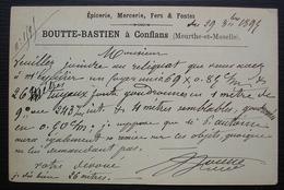 Conflans 1894 (Meurthe Et Moselle) Boutte-Bastien Epicerie Mercerie, Cachet Gare De Conflans - Storia Postale