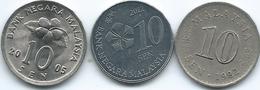 Malaysia - 10 Sen - 1982 (KM3) 2005 (KM51) 2012 (KM202) - Malaysie