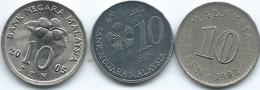 Malaysia - 10 Sen - 1982 (KM3) 2005 (KM51) 2012 (KM202) - Malesia
