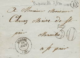 1857- Lettre De BREHAL ( Manche ) Cad T15  + D Boite Rurale De Bricqueville Sur Mer - Postmark Collection (Covers)