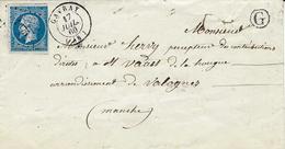 1860- Enveloppe De GAVRAY ( Manche ) Cad T15  Affr. N°14 Oblit. P C 1375 + C Boite Rurale N. I. - Postmark Collection (Covers)