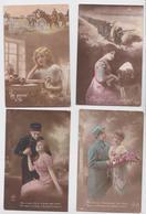 Fantaisie Militaire Grande Guerre 1914 Couple Amoureux Patriotique Poilu Soldat Lot De 28 Cpa - War 1914-18