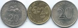 Malaysia - 20 Sen - 1973 (KM4) 2005 (KM52) & 2013 (KM203) - Malesia