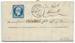 N° 14 BLEU NAPOLEON SUR LETTRE / MALAUCENE POUR RIOLS / 21 MARS 1857 PC 1845 IND 8 / BARROUX - Marcophilie (Lettres)