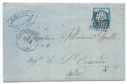 N° 60 BLEU CERES SUR LETTRE / CONVOYEUR VARANGEVILLE POUR ST AMAND  / 1873 / SALINES DE SOMMEVILLER - 1849-1876: Période Classique