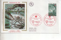 REF X22 : Enveloppe 1er Jour First Day Cover FDC Jules Verne Kraken Croix Rouge Nantes 1982 - Non Classificati
