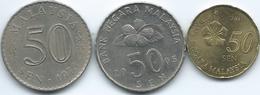 Malaysia - 50 Sen - 1973 (KM5.3) 2005 (KM53) & 2013 (KM204) - Malaysie