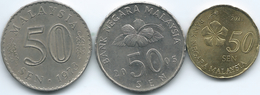 Malaysia - 50 Sen - 1973 (KM5.3) 2005 (KM53) & 2013 (KM204) - Malesia