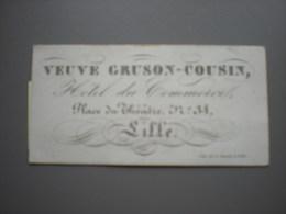 LILLE - HOTEL DU COMMERCIAL - VEUVE GRUSON-COUSIN - CARTE DE VISITE 8 X 4 - Lille