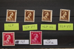 4 Timbres Léopold III De 70c (1936) Comprenant 3 Variétés + 2 Timbres De 1F, Carmin Rouge Et Rose Carmin (1936) - 1936-1957 Open Collar