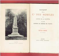 BANQUET DE LA COMPAGNIE DES MOBILES DU CANTON DE LA CLAYETTE AU SIEGE DE PARIS EN 1870 COMTE DE RAMBUTEAU SAONE ET LOIRE - Bourgogne