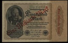 S5314 - DR Infla Geldschein Banknote 1 Milliarde Roter Aufdruck Glänzend: Gebraucht 1923, Bedarfserhaltung. - [ 3] 1918-1933 : Repubblica  Di Weimar