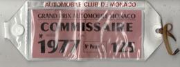 GRAND PRIX DE MONACO 1977 . BRASSARD COMMISSAIRE DE COURSE . - Automovilismo - F1