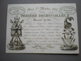 PARIS - PERIERE DECHEVAILLES - EQUIPEMENT MILITAIRES - CARTE DE VISITE 11.5 X 8 - Frankreich
