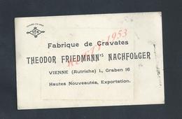 CDV CARTE DE VISITE TYPE CARTON THEODOR FRIEDMANN NACHFOLGER FABRIQUE DE CRAVATES À VIENNE AUTRICHE - Cartes De Visite
