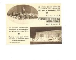 Exposition Coloniale 1931 140 X 100 Mm Affichette Pub De L'organisation Papier Pelure Dos Vierge TB - Advertising