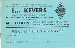 Carnet D'entretien De 1939 Automobile RENAULT Agence Edgar KEVERS à LIEGE - Cars