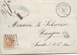 SH 0483. N° 33 Los Pts 192 / ISEGHEM 1 DEC 71 V. WANGEN (CH) - Dos DC SUISSE/AMB.EST I. Tarif 30c PRE-UPU.Superbe Frappe - 1869-1883 Leopold II