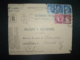DEVANT LR VALEURS A RECOUVRER TP PAIX 65c+ SEMEUSE 15c+ 5c OBL.28-1 40 ST ETIENNE MANUFACTURE LOIRE (42) Tiretée CHAMBON - 1921-1960: Modern Tijdperk