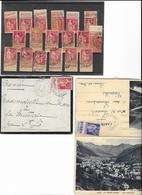 LOT 18 TP Obl (13 Type Paix + 3 Type Semeuse Avec Vignette Publicitaire + 2 Type Paix Un Sur Lettre & Un Sur Carte Posta - 1932-39 Paix