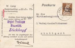 Deutsches Reich W. LANG, OBERTRAUBLING 1921 Card Karte STUTTGART Bayern M. Aufdruck Overprinted Stamp (2 Scans) - Cartas