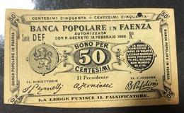 Faenza Banca Popolare 50 Cent 1866 R3 RRR  Biglietti Fiduciari Splendido Biglietto Forellino LOTTO 1332 - [ 1] …-1946 : Royaume