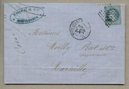 Lettre Avec N°29 Oblitéré GC 5048 + MOSTAGANEM Type 15 En 1870 Pour Marseille - Algérie (1924-1962)