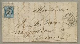 Lettre Avec N°60 Oblitéré GC 5042 + MASCARA Type 17 En 1871 Pour Oran - Other