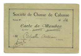 CARTE DE CHASSE - CABASSE (VAR) - M. CAPPELLI ANTOINE - Otros