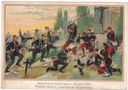 Chromo - Image : Bataille De Saint-privat - Combat Dans Le Cimetière De Saint-privat - ( Militaria ) - Dos Uni Blanc - - Other