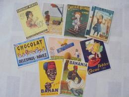 9 CARTES POSTALES THEME PUBLICITE CHOCOLAT - Publicité