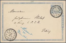 "Japanische Post In China: 1901, Stationery Card 1 ½ S. Canc. ""PEKING I.J.P.O. 2 MAR 01"" Adressed Loc - 1943-45 Shanghai & Nanjing"