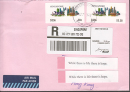 Singapore ATM Postal (Registered) Used Cover Sent From Singapore To Hong Kong, Fine Used. - Singapore (1959-...)