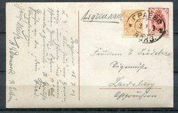 """Russia,Russland 1909 CPA S/w Photo Karte Mit Mi.Nr.64/66 Und Bahnpoststempel""""Russland-Germany  """"1 Karte Used - Brieven En Documenten"""