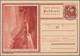 Liechtenstein - Ganzsachen: 1930, 20 Rp. Schloßhof, Bilder Vaduz Und Steg, 2 Sehr Saubere Karten Von - Stamped Stationery