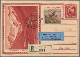 Liechtenstein - Ganzsachen: 1930, 20 Rp. Schloßhof, Bild Valüna-Alpe, Mit ZuF 25 Rp. Flugpost Als R- - Stamped Stationery