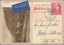 Liechtenstein - Ganzsachen: 1932, 20 Rp. Schloßhof, Bild Eschen, Als Luftpostkarte Von Vaduz Mit Rot - Stamped Stationery